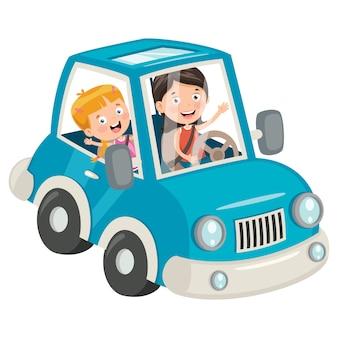 Crianças viajando com um carro engraçado