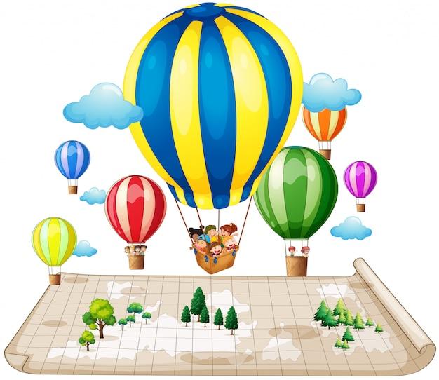 Crianças viajando de balão