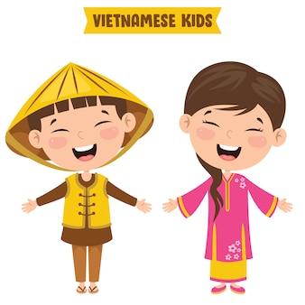 Crianças vietnamitas vestindo roupas tradicionais