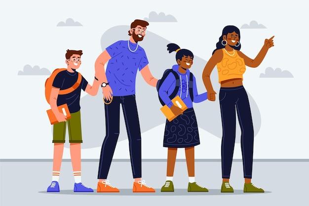 Crianças voltam para a escola com os pais
