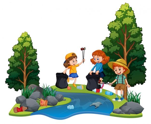 Crianças voluntariado limpando rio