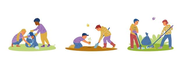 Crianças voluntárias coletando lixo plantando mudas