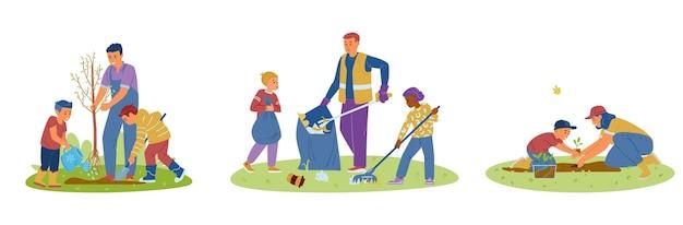 Crianças voluntárias com adultos recolhendo lixo, plantando mudas e árvores