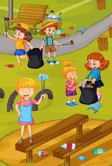 Crianças voluntárias limpando parque