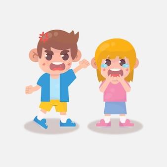 Crianças zangadas com amigo