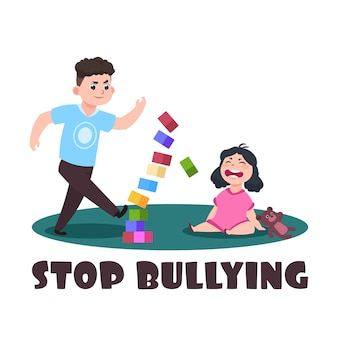 Crianças zangadas. menino mau e menina chorando. pare de bullying ilustração vetorial