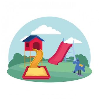 Crianças zona, playground equipamentos slide sandbox primavera cavalo