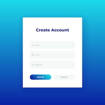 Criar conta. formulário de login para o modelo de design do site. ui / ux