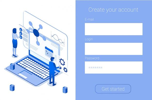 Criar conta online inscreva-se página de destino da empresa