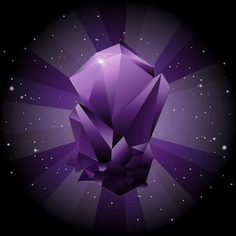 Criar gemstone violeta no fundo do espaço do céu