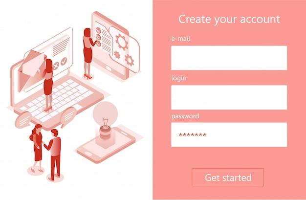 Criar página da conta, registro do usuário, banner 3d