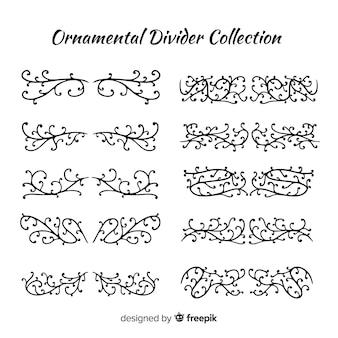 Criativa coleção de divisores de ornamento de mão desenhada