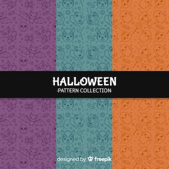 Criativa coleção de fundo de padrão de halloween