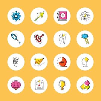 Criatividade de grandes ideias pense em ícones de inspiração