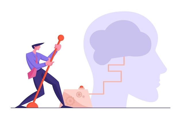 Criatividade e conceito de solução de pesquisa. empresário movendo enorme braço de alavanca para ligar o cérebro
