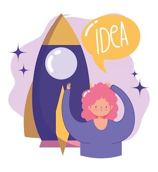 Criatividade e tecnologia das pessoas, ideia de criatividade de inicialização de garota e foguete