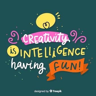 Criatividade letras citação fundo mão desenhada design