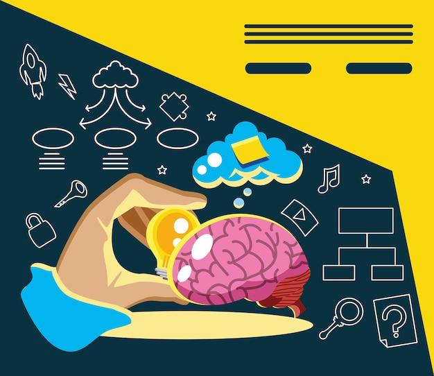 Criatividade, mão com cérebro de bulbo