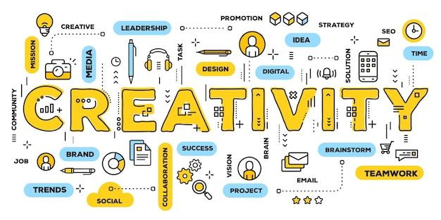 Criatividade, tipografia de letras de palavras amarelas com ícones de linha e nuvem de tags Vetor Premium