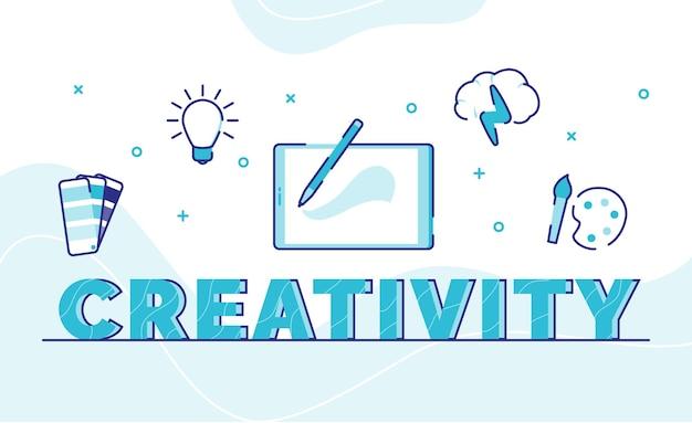 Criatividade, tipografia, palavra arte, fundo, ícone, caminho, lâmpada, paleta, cérebro, com, estilo, contorno