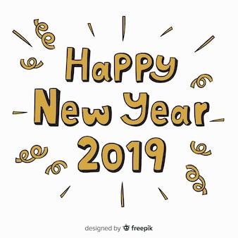 Criativo ano novo 2019 letras fundo com letras douradas