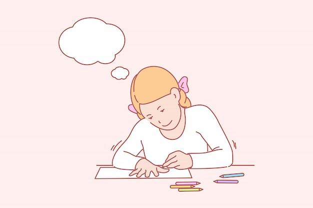 Criativo, arte, aprendizagem, mãos, infância, ilustração de bolha do pensamento