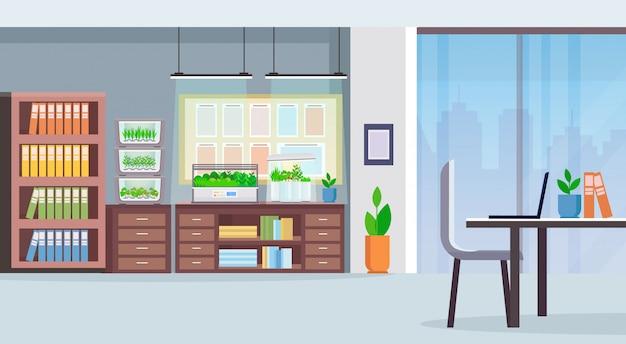 Criativo co-working center local de trabalho mesa escritório moderno interior com terrário eletrônico vidro recipiente plantas crescendo conceito plana horizontal