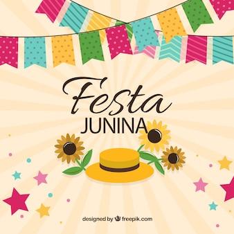 Criativo colorido festa junina fundo design