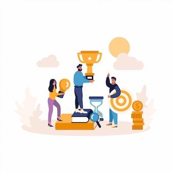 Criativo conceito plana de pessoas de negócios, alvo, idéia. conceito de promoção de marketing de negócios.
