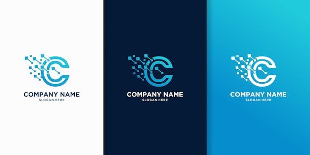 Criativo de design de logotipo de tecnologia da letra c
