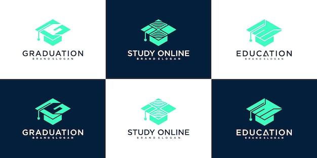 Criativo de educação e coleção de design de logotipo universitário vektor premium