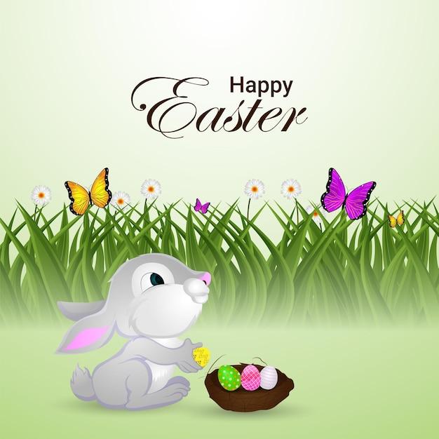 Criativo de feliz dia de páscoa com o coelhinho da páscoa