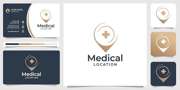 Criativo de modelo de logotipo médico com conceito de marcador de pino e design de cartão de visita premium vector