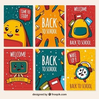 Criativo de volta à coleção de cartões da escola