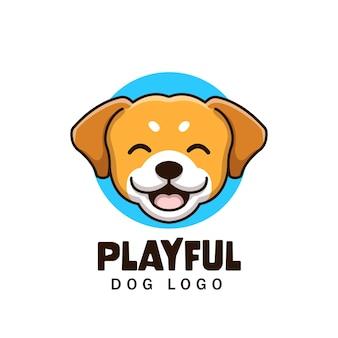 Criativo desenho animado cão pet shop mascote animal fofo logo design