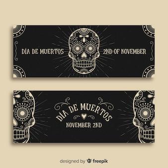 Criativo día de muertos banners