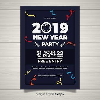 Criativo escuro 2019 cartaz de festa de ano novo