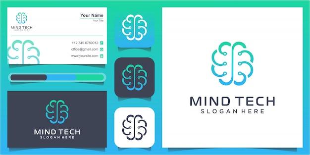 Criativo inteligente brain technology logo design illustration. uma ilustração abstrata de um cérebro de placa de circuito eletrônico no perfil, conceito de inteligência artificial ai
