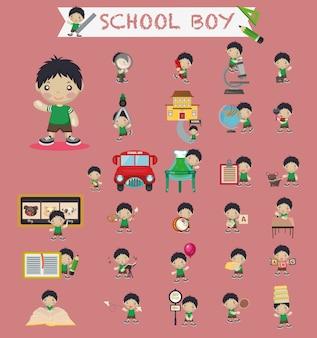 Criativo menino com elementos da escola