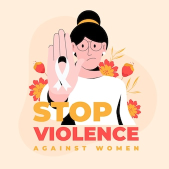 Criativo pare a violência contra a mulher, texto e mulher ilustrada