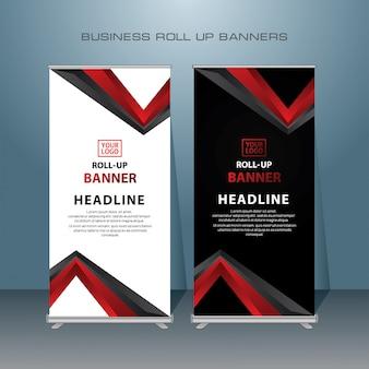 Criativo roll up banner design na cor vermelha