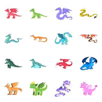 Criatura e animal. conjunto de criatura e ícone medieval.