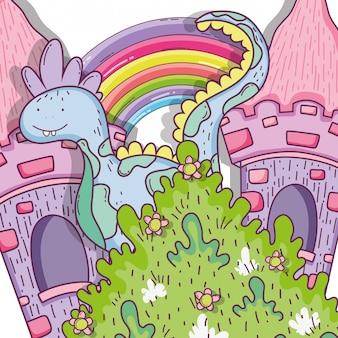 Criatura fantástica dragn com castelo e arco-íris