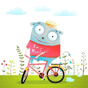 Criatura feliz monstro animal andar bicicleta