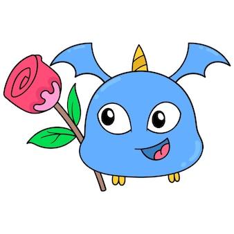 Criatura fofa com asas de dentes afiados voando com rosas, arte de ilustração vetorial. imagem de ícone do doodle kawaii.