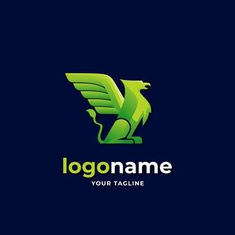 Criatura mítica estilo gradiente de logotipo grifo para empresa de negócios de luxo elegante