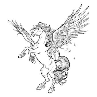Criatura mitológica grega de pégaso.