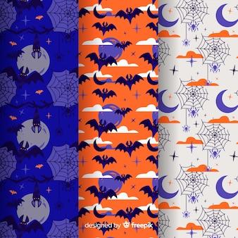Criaturas da coleção de padrão de halloween a noite