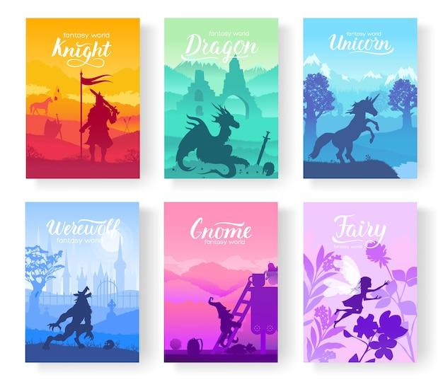 Criaturas de fantasia de velhos mitos e contos de fadas. modelo de revistas, cartaz, capa de livro, banners.