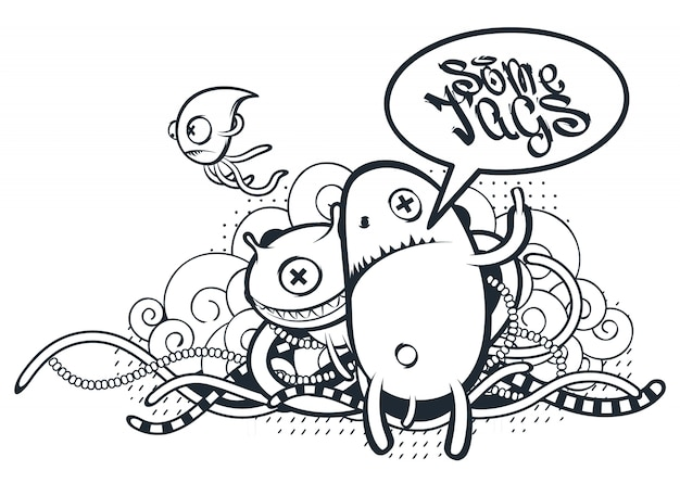 Criaturas desenhadas à mão em estilo graffiti